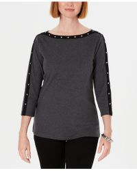 Karen Scott - Petite Cotton Studded Boat-neck Top, Created For Macy's - Lyst