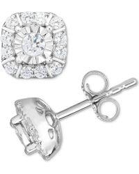 Macy's Diamond Square Cluster Stud Earrings (1/2 Ct. T.w.) In 14k White Gold - Metallic