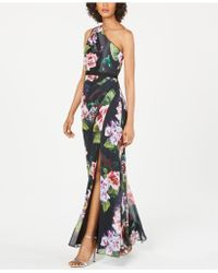 Adrianna Papell Floral-print One-shoulder Gown - Black