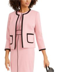 Nine West Contrast-piping Jewel-neck Jacket - Pink