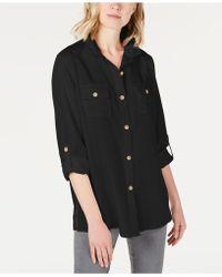 Charter Club Utility Shirt, Created For Macy's - Black