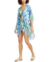 Tommy Hilfiger Tie-dyed Kimono Swim Cover-up - Blue
