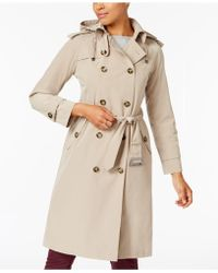 London Fog - Double-breasted Hooded Trench Coat - Lyst