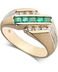 Macy's - Emerald (3/4 Ct. T.w.) & Diamond (1/4 Ct. T.w.) Ring In 14k Gold - Lyst