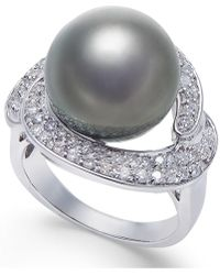 Macy's - Cultured Black Tahitian Pearl (13mm) And Diamond (5/8 Ct. T.w.) Ring In 14k White Gold - Lyst