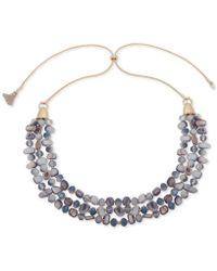 "Lonna & Lilly - Gold-tone Bead, Stone & Tassel 29"" Slider Statement Necklace - Lyst"