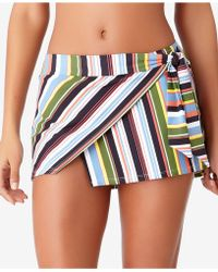 Anne Cole - Studio Comic Stripe Asymmetrical Swim Skirt - Lyst