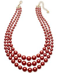 "Charter Club - Gold-tone Red Imitation Pearl Three-row Necklace, 18"" + 2"" Extender, Created For Macy's - Lyst"