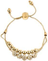 Guess - Rose Gold-tone Pavé Beaded Double-row Slider Bracelet - Lyst