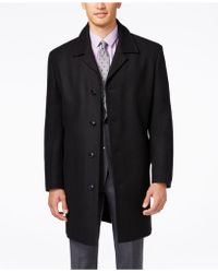 London Fog Coat, Coventry Wool-blend Overcoat - Black