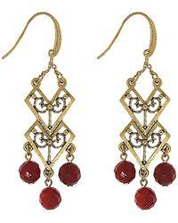 1928 T.r.u. By Matte 14 K Gold And Carnelian Chevron Drop Earring - Red
