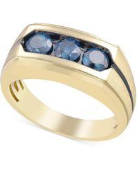 Macy's Blue Diamond Ring (1-1/5 Ct. T.w.) In 10k Gold - Metallic