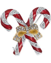 Charter Club - Holiday Lane Gold-tone Crystal & Epoxy Candy Cane Ribbon Pin, Created For Macy's - Lyst