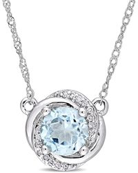 """Macy's - Blue Topaz (1 Ct. T.w.) And Diamond Accent Swirl 17"""" Necklace In 10k White Gold - Lyst"""