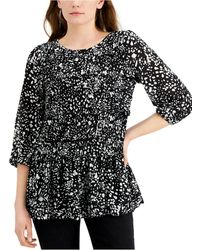 Fever Printed Ruffled Ruched Top - Black