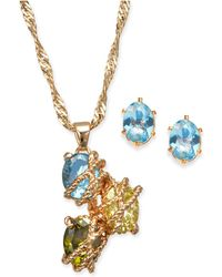 403af226d Charter Club - Gold-tone Multi-stone Wrapped Pendant Necklace & Stud  Earrings Set