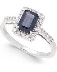Macy's - Sapphire (1-1/6 Ct. T.w.) & Diamond (1/4 Ct. T.w.) Ring In 14k White Gold - Lyst