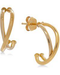 Macy's - Crisscross J-hoop Earrings In 10k White/rose Gold, Rose Gold, White Gold Or Gold, 1/2 Inch - Lyst