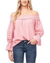 Cece Floral-print Off-the-shoulder Top - Pink