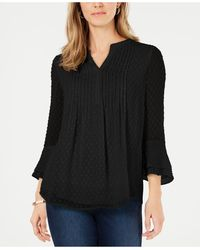Charter Club Petite Double-ruffle Textured Pintuck Top, Created For Macy's - Black
