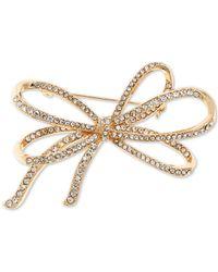 Anne Klein Pavé Bow Pin, Created For Macy's - Metallic