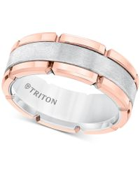 Triton Brushed Comfort-fit Ring In Tungsten Carbide - Pink