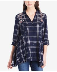 Vintage America | Ries Embroidered Plaid Shirt | Lyst