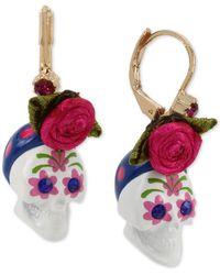 Betsey Johnson Skull Drop Earrings - Pink