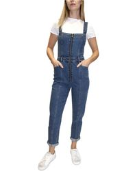 Almost Famous Juniors' Zippered Skinny Overalls - Blue