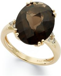 Macy's - 14k Gold Ring, Smokey Quartz (12 Ct. T.w.) And Diamond (1/5 Ct. T.w.) Oval Ring - Lyst
