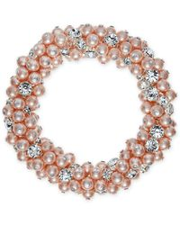 Charter Club - Silver-tone Imitation Pink Pearl And Crystal Cluster Stretch Bracelet - Lyst