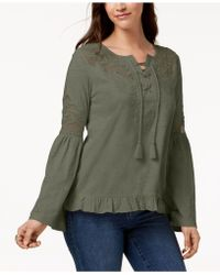 Style & Co. - Mesh-inset Peasant Top, Created For Macy's - Lyst