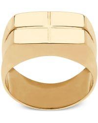 Macy's - Square Cross Design Ring In 10k Gold - Lyst