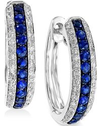 Effy Collection - Sapphire (1/3 Ct. T.w.) And Diamond (1/4 Ct. T.w.) Hoop Earrings In 14k White Gold - Lyst