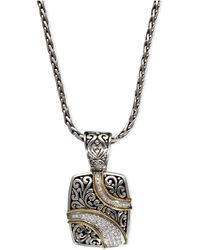 Effy Collection - Diamond Ribbon Pendant (1/4 Ct. T.w.) In 18k Gold And Sterling Silver - Lyst
