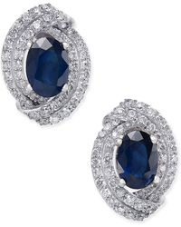 Macy's - Sapphire (2 Ct. T.w.) And Diamond (5/8 Ct. T.w.) Stud Earrings In 14k White Gold (also Available In Emerald & Ruby) - Lyst