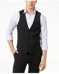 Bar Iii Slim-fit Active Stretch Performance Wool Vest, Created For Macy's - Black