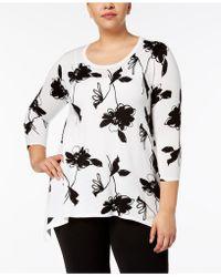 Anne Klein - Plus Size Embellished Asymmetrical-hem Tunic - Lyst