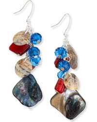 Style & Co. Silver-tone Mixed Shaky Bead Drop Earrings, Created For Macy's - Multicolour