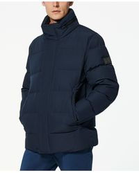 Marc New York Down Jacket With Hidden Hood - Blue