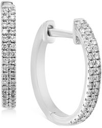 """Effy Collection Effy® Diamond Small Double Row Hoop Earrings (1/5 Ct. T.w.) In Sterling Silver, 0.5"""" - Metallic"""
