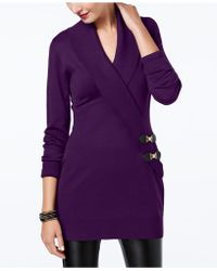 INC International Concepts - I.n.c. Surplice Buckle Tunic Sweater, Created For Macy's - Lyst