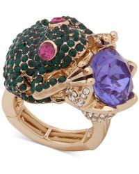Anne Klein - Gold-tone Crystal Frog Stretch Ring - Lyst