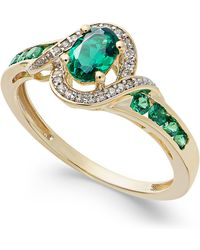 Macy's - Ruby (5/8 Ct. T.w.) And Diamond (1/10 Ct. T.w.) Ring In 14k Gold (also In Emerald & Sapphire) - Lyst