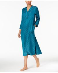Miss Elaine | Brushed-back Satin Zip-front Long Robe | Lyst