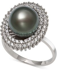 Macy's - Black Cultured Tahitian Pearl (10mm) & Cubic Zirconia Ring In Sterling Silver - Lyst