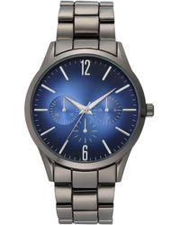 INC International Concepts Gunmetal-tone Blue Bracelet Watch 42.5mm, Created For Macy's - Multicolor