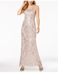 Adrianna Papell - Lace Sequin-embellished Gown - Lyst