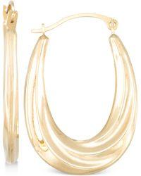 Macy's - Draped-look Oval Hoop Earrings In 10k Gold - Lyst