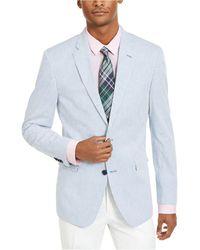 Tommy Hilfiger Modern-fit Stretch Blue/white Seersucker Stripe Sport Coat